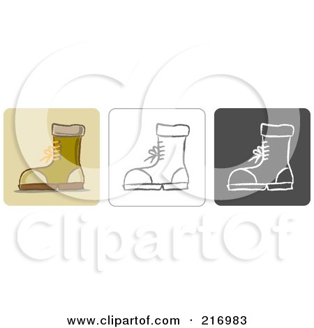 Royalty-Free (RF) Clipart Illustration of a Digital Collage Of Three Boot Icons In Color, Sketch Style And Black And White by Qiun