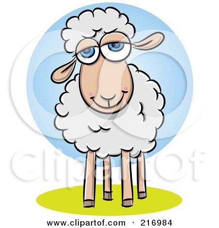 Royalty-Free (RF) Clipart Illustration of a Pleasant Little Sheep Smiling by Qiun