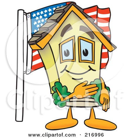 Royalty-Free (RF) Clipart Illustration of a Home Mascot Character With An American Flag by Toons4Biz