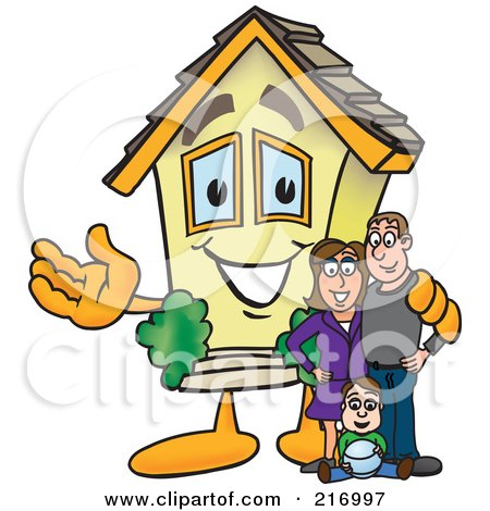 Royalty-Free (RF) Clipart Illustration of a Home Mascot Character With A Family by Toons4Biz
