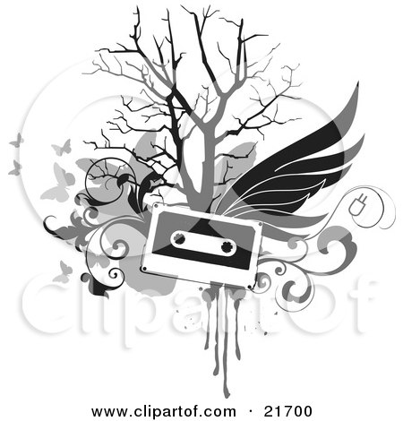 Musical Clipart Picture Illustration of a Flying Cassette Tape With Wings, Over A Bare Tree, Gray Scroll And Butterfly Background On White by OnFocusMedia