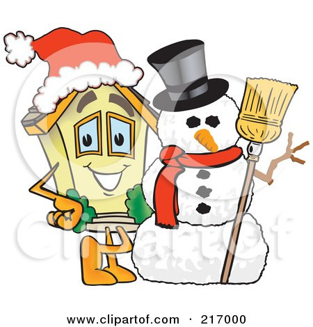 Royalty-Free (RF) Clipart Illustration of a Home Mascot Character By A Snowman by Toons4Biz