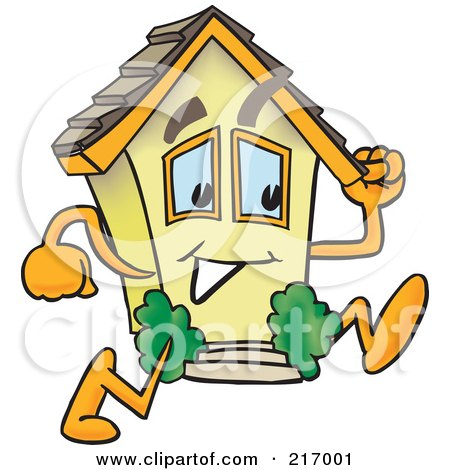 Royalty-Free (RF) Clipart Illustration of a Home Mascot Character Running by Toons4Biz