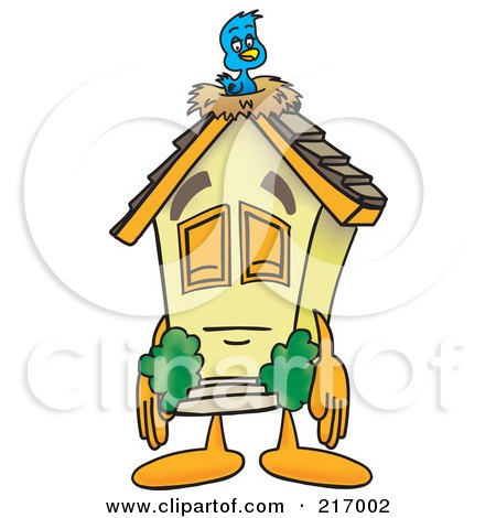 Royalty-Free (RF) Clipart Illustration of a Home Mascot Character With A Bird Nest On The Roof by Toons4Biz