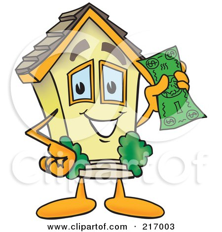 Royalty-Free (RF) Clipart Illustration of a Home Mascot Character Holding Cash by Toons4Biz