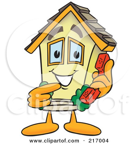Royalty-Free (RF) Clipart Illustration of a Home Mascot Character Holding A Phone by Toons4Biz