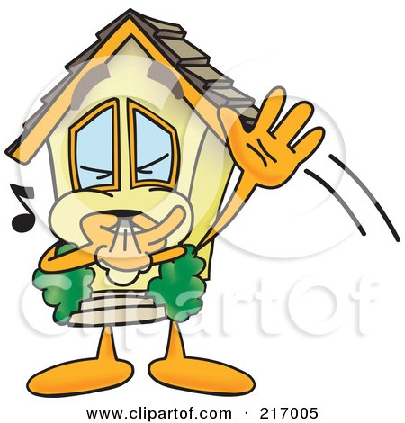 Royalty-Free (RF) Clipart Illustration of a Home Mascot Character Waving And Whistling by Toons4Biz