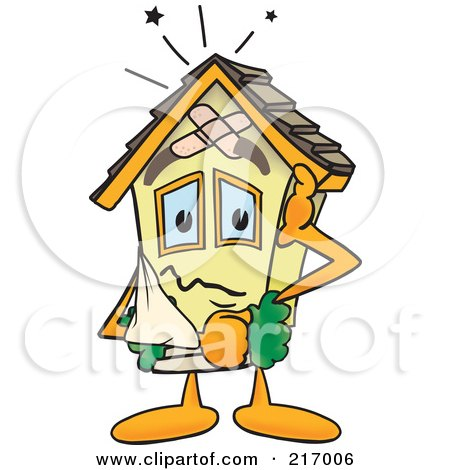 Royalty-Free (RF) Clipart Illustration of a Home Mascot Character With Damage by Toons4Biz