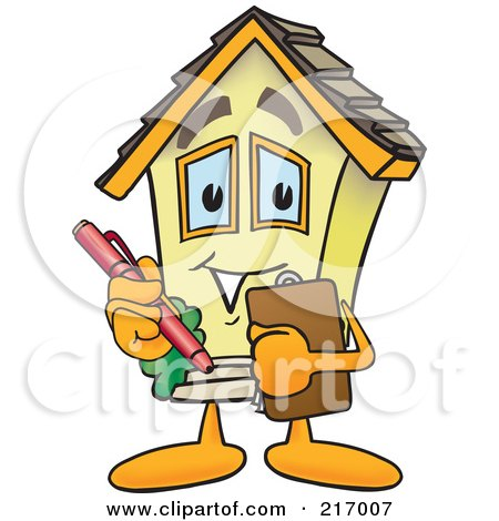 Royalty-Free (RF) Clipart Illustration of a Home Mascot Character Holding A Clipboard by Toons4Biz