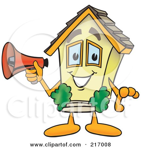 Royalty-Free (RF) Clipart Illustration of a Home Mascot Character Holding A Megaphone by Toons4Biz
