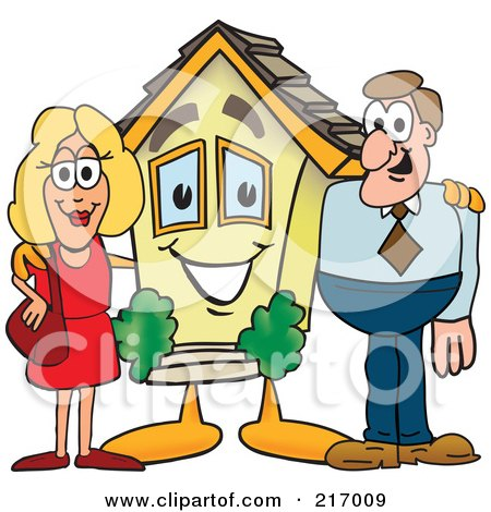 Royalty-Free (RF) Clipart Illustration of a Home Mascot Character With A Couple by Toons4Biz