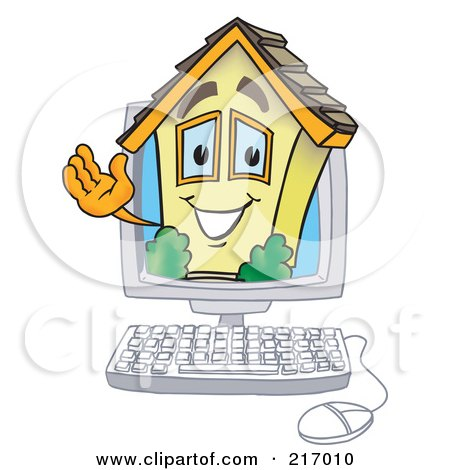 Royalty-Free (RF) Clipart Illustration of a Home Mascot Character In A Computer by Toons4Biz