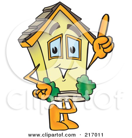 Royalty-Free (RF) Clipart Illustration of a Home Mascot Character Pointing Upwards by Toons4Biz