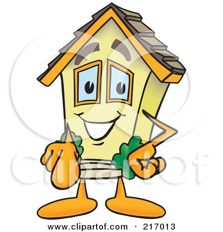 Royalty-Free (RF) Clipart Illustration of a Home Mascot Character Pointing Outwards by Toons4Biz