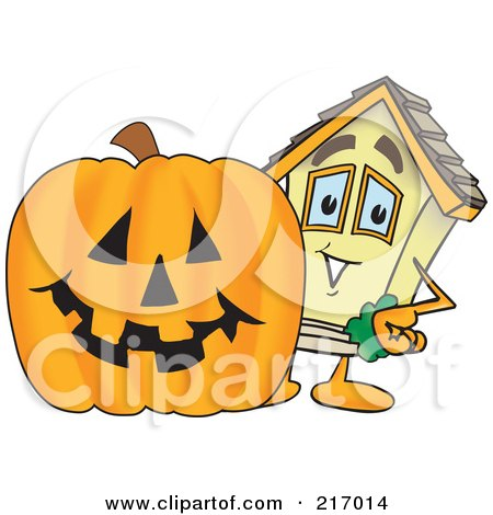 Royalty-Free (RF) Clipart Illustration of a Home Mascot Character By A Halloween Pumpkin by Toons4Biz