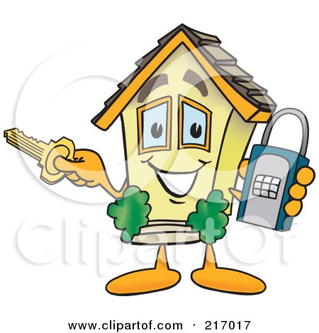 Royalty-Free (RF) Clipart Illustration of a Home Mascot Character Holding A Lock And Key by Toons4Biz