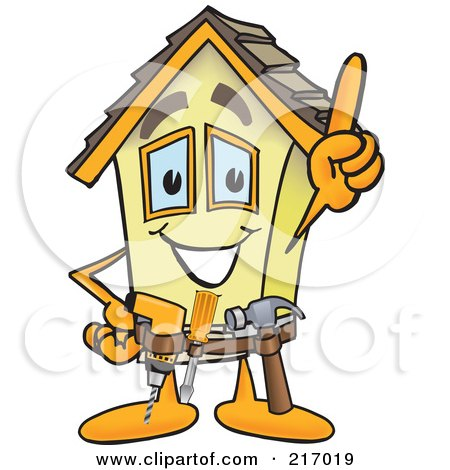 Royalty-Free (RF) Clipart Illustration of a Home Mascot Character Handyman by Toons4Biz