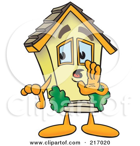 Royalty-Free (RF) Clipart Illustration of a Home Mascot Character Whispering by Toons4Biz