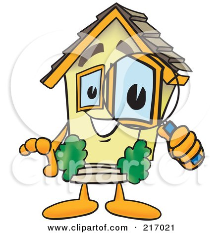 Royalty-Free (RF) Clipart Illustration of a Home Mascot Character Using A Magnifying Glass by Toons4Biz