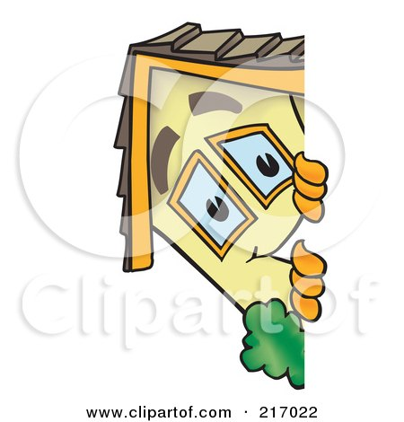 Royalty-Free (RF) Clipart Illustration of a Home Mascot Character Looking Around A Blank Sign by Toons4Biz