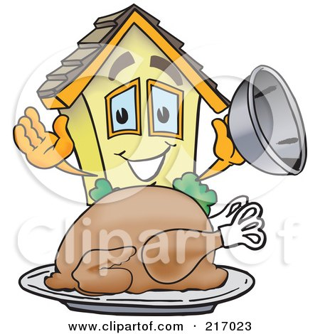 Royalty-Free (RF) Clipart Illustration of a Home Mascot Character Serving A Thanksgiving Turkey by Toons4Biz