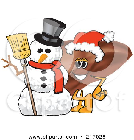 Royalty-Free (RF) Clipart Illustration of a Liver Mascot Character By A Snowman by Toons4Biz