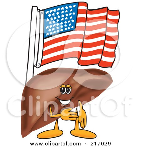 Royalty-Free (RF) Clipart Illustration of a Liver Mascot Character With An American Flag by Toons4Biz