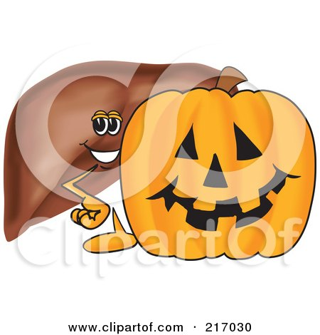 Royalty-Free (RF) Clipart Illustration of a Liver Mascot Character With A Halloween Pumpkin by Toons4Biz