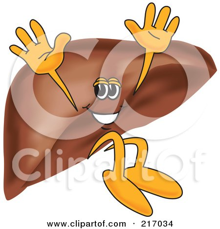Royalty-Free (RF) Clipart Illustration of a Liver Mascot Character Jumping by Toons4Biz