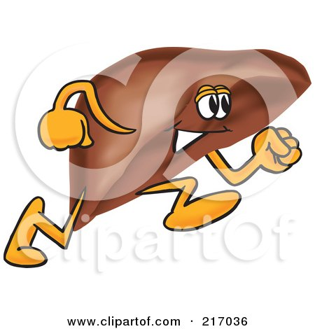 Royalty-Free (RF) Clipart Illustration of a Liver Mascot Character Running by Toons4Biz