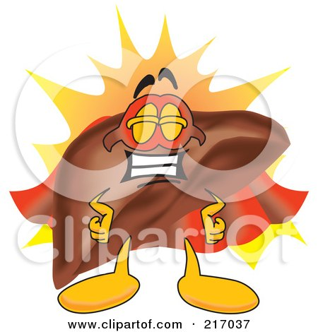 Royalty-Free (RF) Clipart Illustration of a Liver Mascot Character Super Hero by Toons4Biz