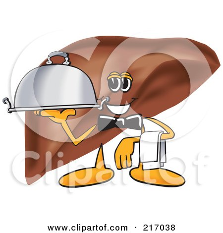 Royalty-Free (RF) Clipart Illustration of a Liver Mascot Character Serving A Platter by Toons4Biz