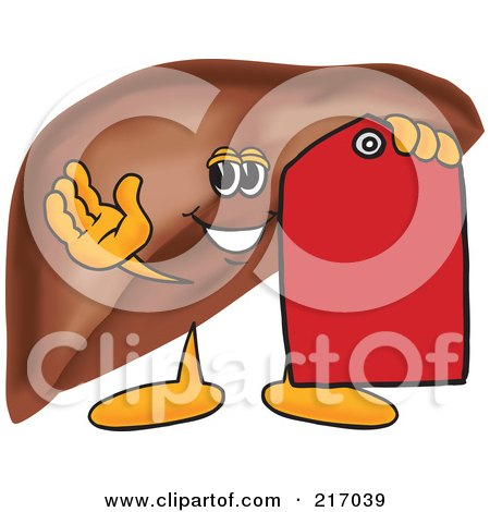 Royalty-Free (RF) Clipart Illustration of a Liver Mascot Character With A Red Price Tag by Toons4Biz