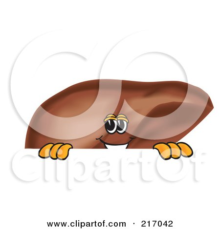 Royalty-Free (RF) Clipart Illustration of a Liver Mascot Character Looking Over A Blank Sign by Toons4Biz