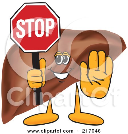 Royalty-Free (RF) Clipart Illustration of a Liver Mascot Character Holding A Stop Sign by Toons4Biz