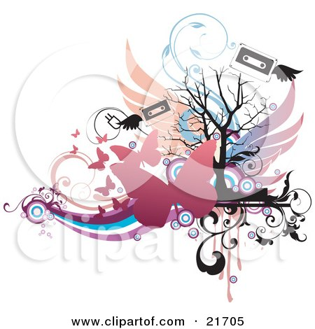 Musical Clipart Picture Illustration of a Flying Winged Cassette Tapes With Pink Butterflies Over Colorful Vines And A Silhouetted Bare Tree, On White by OnFocusMedia