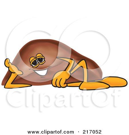 Royalty-Free (RF) Clipart Illustration of a Liver Mascot Character Reclined by Toons4Biz