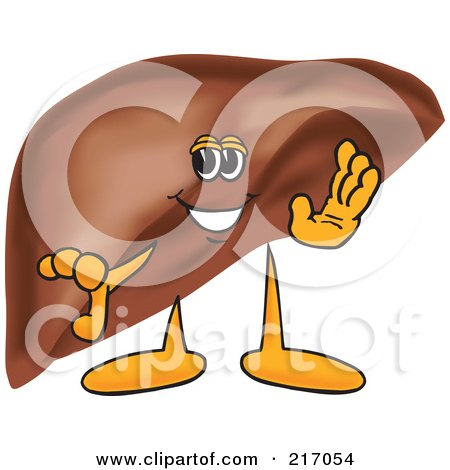 Royalty-Free (RF) Clipart Illustration of a Liver Mascot Character Waving by Toons4Biz