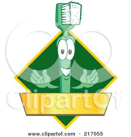 Royalty-Free (RF) Clipart Illustration of a Green Toothbrush Logo Character Mascot With A Gold Banner On A Green Diamond by Toons4Biz