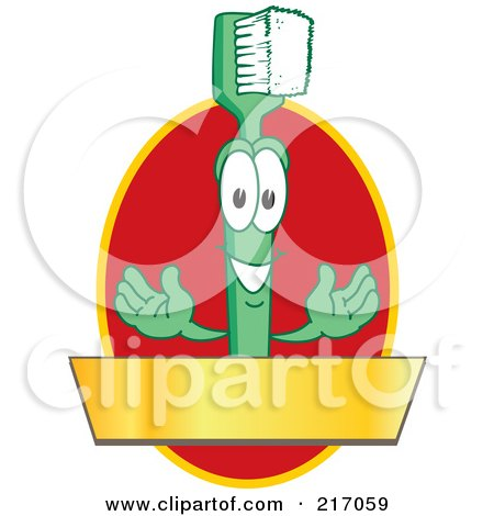Royalty-Free (RF) Clipart Illustration of a Green Toothbrush Logo Character Mascot With A Gold Banner On A Red Oval by Toons4Biz