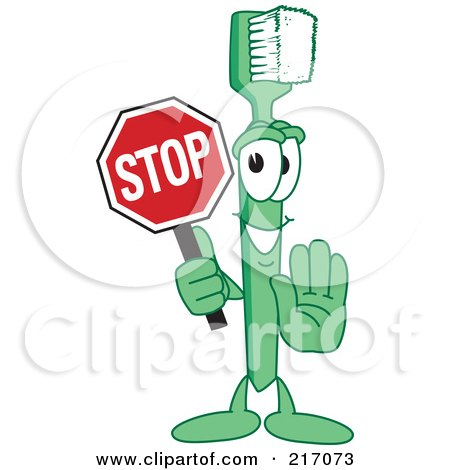 Royalty-Free (RF) Clipart Illustration of a Green Toothbrush Character Mascot Holding A Stop Sign by Toons4Biz