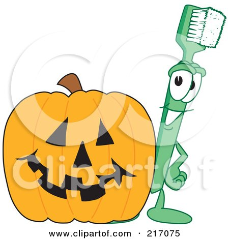 Royalty-Free (RF) Clipart Illustration of a Green Toothbrush Character Mascot With A Halloween Pumpkin by Toons4Biz