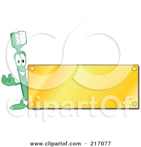 Royalty-Free (RF) Clipart Illustration of a Green Toothbrush Character Logo Mascot With A Blank Gold Plaque by Toons4Biz