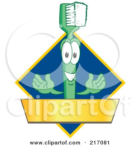 Royalty-Free (RF) Clipart Illustration of a Green Toothbrush Logo Character Mascot With A Gold Banner On A Blue Diamond by Toons4Biz