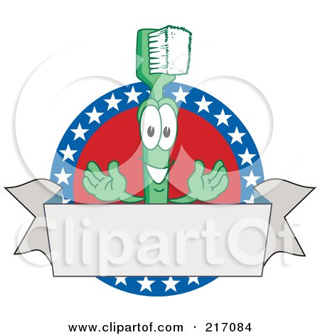Royalty-Free (RF) Clipart Illustration of a Green Toothbrush Character Mascot Logo With American Stars And A Blank Banner by Toons4Biz