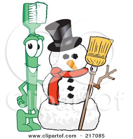 Royalty-Free (RF) Clipart Illustration of a Green Toothbrush Character Mascot By A Snowman by Toons4Biz