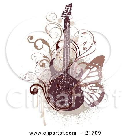 Electric Guitar With Scrolled Vines And A Butterfly Over A Grunge Background Posters, Art Prints