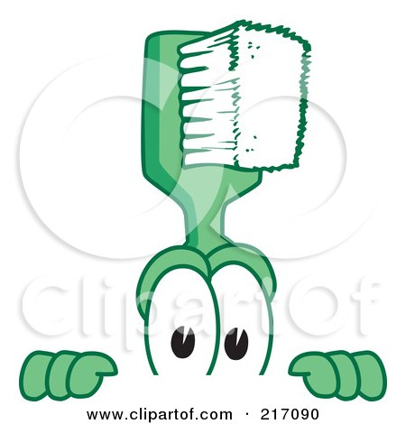 Royalty-Free (RF) Clipart Illustration of a Green Toothbrush Character Mascot Looking Over A Blank Sign by Toons4Biz
