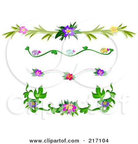 Royalty-Free (RF) Clipart Illustration of a Digital Collage Of Tropical Flower Header Design Elements by bpearth