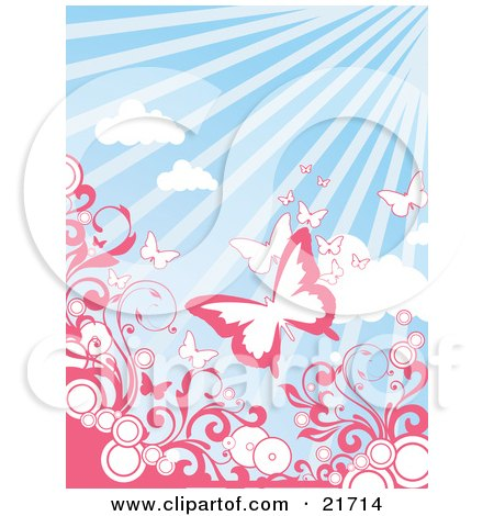 Pink And White Butterflies Flying Above Circles And Pink Scrolling Vines Over A Sunny Blue Sky Background Posters, Art Prints